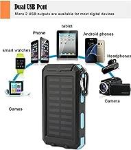 Mandorra Waterproof 30000mAh Dual USB Portable Solar Battery Charger Solar Power Bank Shockproof Battery(blue)