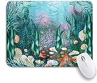 PATINISAマウスパッド 海水エキゾチックアクアティックアンダーウォーターワールド夏ニシンネイチャーデザインシーズン海藻スタービーチ ゲーミング オフィ滑り止めゴム底 ゲーミングなど適用 用コンピュータ