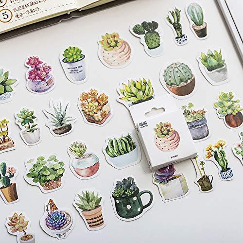 Niedliche Sukkulenten Tagebuch Tagebuch Papier Etikett Versiegelung Aufkleber Handwerk und Scrapbooking Dekorative Lifelog DIY Stationery50pcs / Box