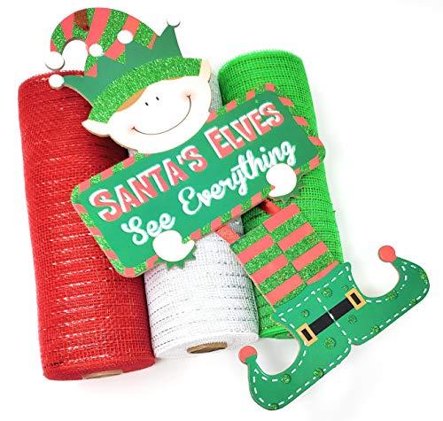 Christmas Elf Deco Mesh Wreath Kit: 10' Mesh Rolls (Red, White, Green) and Santa's Elves Center Sign