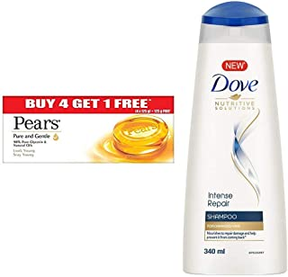 Pears Pure And Gentle Bathing Bar, 125g (Pack Of 5) & Dove Intense Repair Shampoo, 340ml