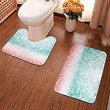 NiYoung Novelty Bath Rugs Set for Bathroom 2 Piece Dry Bath Mats - Soft Bath Mat & U-Shaped Toilet Rug, Non-Slip Absorbent Shower Bathroom Carpets (Abstract Teal Green Glitter Coral Pink)