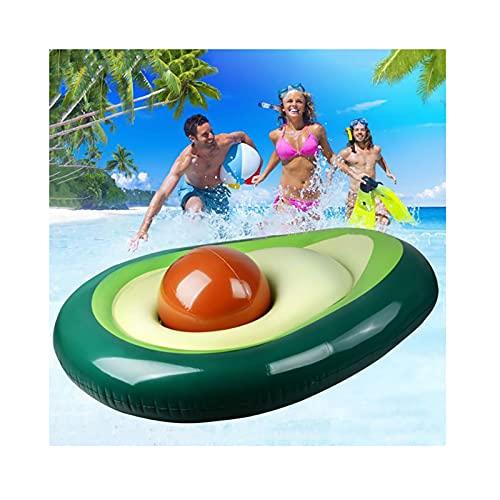 GSYNXYYA Flotador Piscina Inflable, Juguetes de Piscina de Playa para Fiestas de Verano para niños, colchón de Aire Inflable de Cama Flotante de Aguacate con Bola, (62,99'* 49,2' * 14,2')