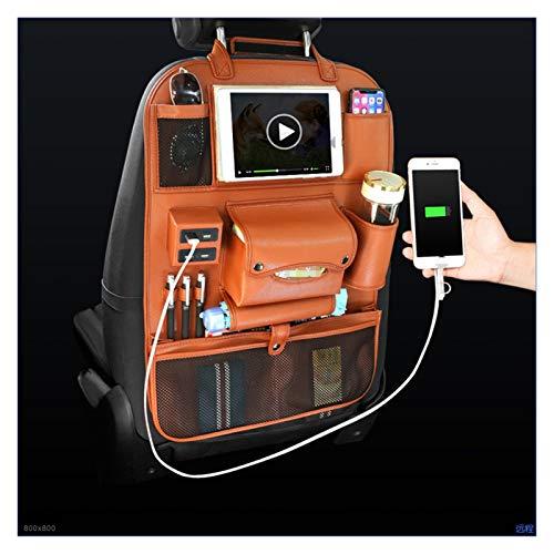 FENGFENG Sun Can 4 Cargador USB Almacenamiento PU Cuero Viaje Multifunción Pocket Stowing Tipying Auto Accessories Auto Asiento Trasero Bolsa Autorizador de automóviles (Color Name : Brown)