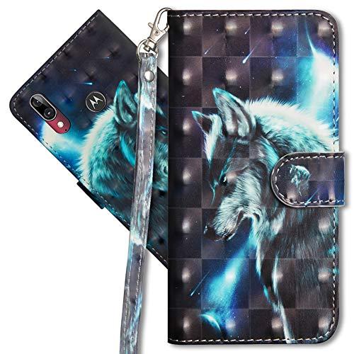 MRSTER Moto E6 Plus Handytasche, Leder Schutzhülle Brieftasche Hülle Flip Hülle 3D Muster Cover mit Kartenfach Magnet Tasche Handyhüllen für Motorola Moto E6 Plus. YX 3D Wolf