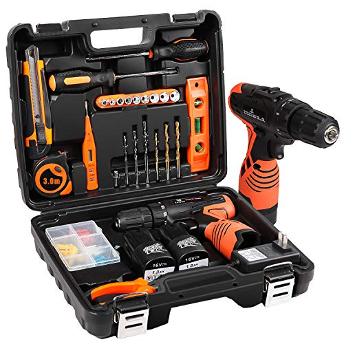 LETTON Power Tools Combo Kit With 16.8V Cordless Drill for 48 Accessories Home Cordless Repair Kit Tool Set