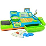 Boley Blue Toy Cash Register Playset - 19pc Kids Play Cash Register with Scanner and Credit Card Reader