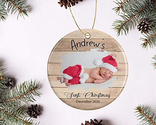 Decorations New Baby Christmas Ornament with Cute Elephant Clip Art - Holiday Decoration for Tree, 1st Xmas, Personalized with Date and Name, 2018 Decorative Wall Art for Christmas and Holidays