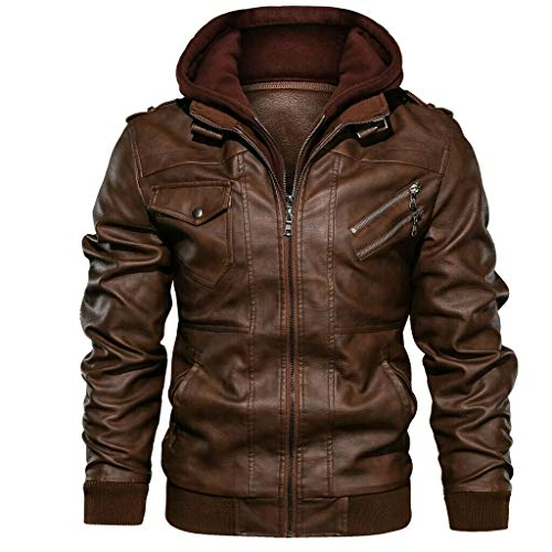 MMHA Denzell Outwear Anarchist Leather Jacket Hooded Motorcycle Coat Biker Style Men (XXL, Brown)