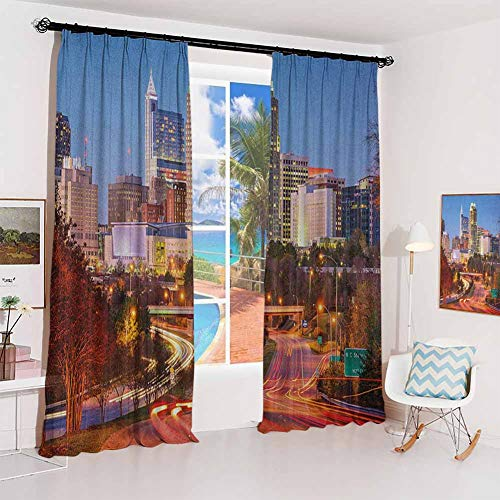 United States Pleated curtains with blackout and lining Raleigh North Carolina USA Express Way Business District Building Skyscrapers Used for Living room bedroom with sliding door patio door W52 x L