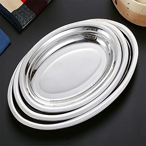 XKMY Plato hondo de acero inoxidable ovalado plato occidental bandeja de almacenamiento de postre Accesorios de vajilla, plato de sushi y mariscos al vapor plato de pescado (color: 35 cm)