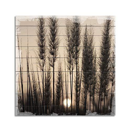 Cuadros Lifestyle Wandbild aus Holz   Holzbild   Shabby-Look   Landhaus   Bäume   Vintage   Geschenk, Größe:ca. 50x50 cm