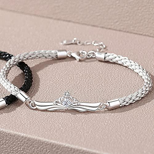 Pareja cuerda de mano pulsera de plata esterlina para hombres y mujeres moda nicho salvaje pulseras de amor de larga distancia