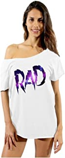 Awkwardstyles Women's RAD Galaxy Logo Off Shoulder Tops T-Shirt + Bookmark