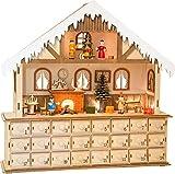 small foot Holz Form, 24 Schubladen mit kleinen Knäufen als Griff, sowie fein gearbeiteter Inneneinrichtung des winterlichen Hauses und Innenbeleuchtung Adventskalender, Natur, 39 x 10 x 38 cm