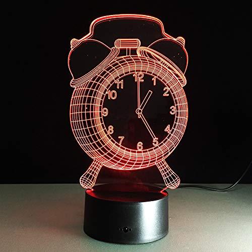 3D-lamp, optische illusie, led, nachtlampje, wekker, 7 kleuren, bedlampje, bedlampje, nachtlampje, nachtlampje, met USB-kabel.