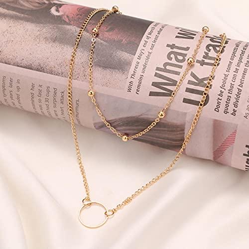 SONGK Collares Colgantes de Monedas Redondas de Perlas con Retrato de Cerradura de múltiples Capas Vintage para Mujer,joyeríaLarga de corazón con Llave de Oro Bohemia