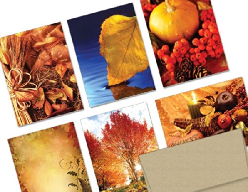 Note Card Cafe Thanksgiving Cards With Kraft Envelopes | 72 Pack | A Bountiful Thanksgiving Design Assortment | Blank Inside, Glossy Finish | For Holiday, Autumn, Fall
