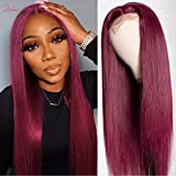 Julia 10A Straight Burgundy Lace Closure Human Hair Wigs T Part Malaysian Remy Hair Silk Base Fake Scalp Red Real Human Hair Wig Middle Part Pre Plucked with Baby Hair 99J Color 22inch