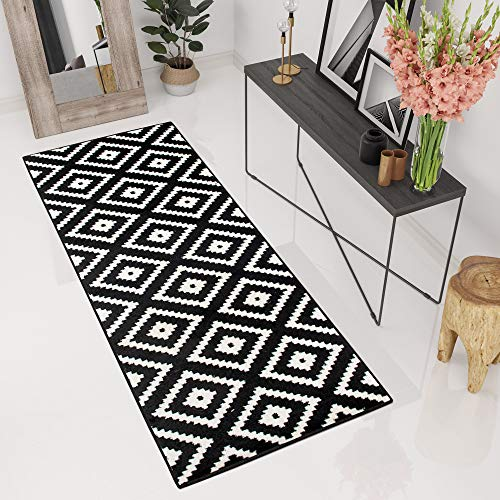 TAPISO® Tapis De Couloir Passage Moderne – Couleur Noire Blanche – Motif Géométrique Treillis – Collection Marocaine 70 x 130 cm