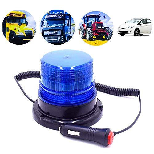 Gyrophare magnétique LED, Lumière d'avertissement magnétique pour véhicule avec 12V/24V prise allume-cigare (Bleu)