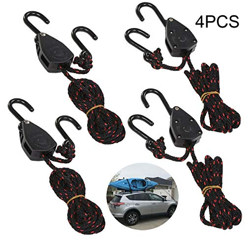 UCSAJI 4PCS 1/8in 8ft Adjustable Heavy Duty Rope Hanger Ratchet Kayak and Canoe Bow and Stern Tie Downs Straps