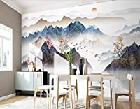 RTYUIHN リビングルームの3D壁紙壁画抽象ツリー寝室の壁の壁紙日の出TVソファの背景壁画の壁紙-自己粘着性のPVC壁紙