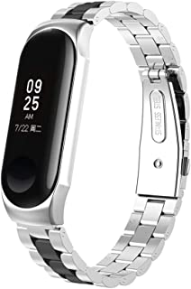 Watchband Replacement Compatible for Mi Band 3, Adjustable Stainless Steel for Unisex Adult