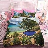Ropa de cama impresa en 3D para vacaciones en Seychelles Tema Exótico Beach Pool Summer Vacation Greenery (3 piezas, tamaño completo) Edredón y dos fundas de almohada