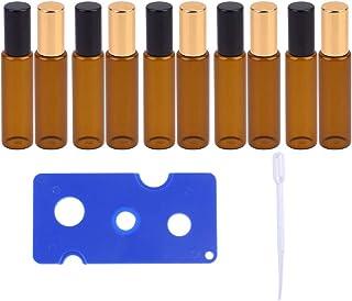 Beaupretty Garrafas de rolo de óleo essencial de 10 ml, frascos de rolo de perfume vazios com bolas de rolo de aço inoxidá...