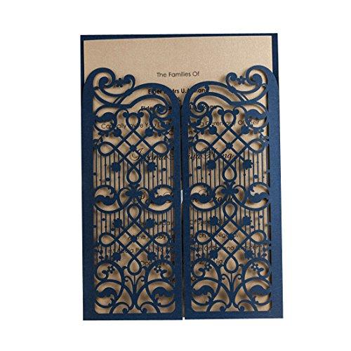 WISHMADE 20pcs Einladungskarten Hochzeit Mit Blau Lasercut Spitze Design Blanko Set 50 Stücke Für Geburtstag Graduierung Partei Favors CW5102