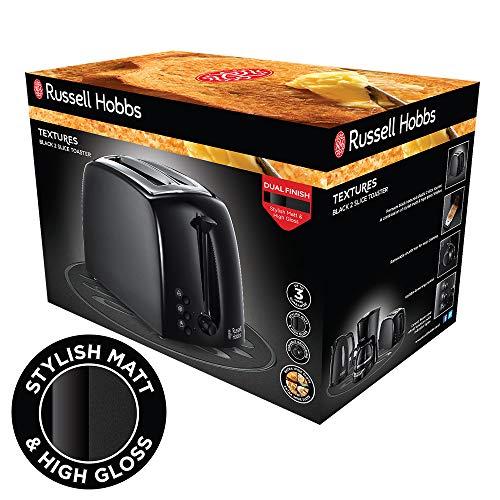 Russell Hobbs 21641 Textures 2-Slice Toaster, 1000 W, Black