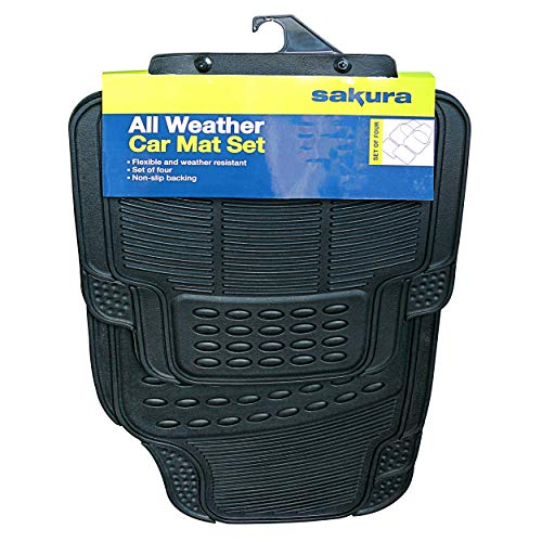 Sakura All-Weather Rubber Car Mats SS3601 - Set of 4, Anti-Slip Backing, Universal Fit, Embossed Trim-To-Fit Lines