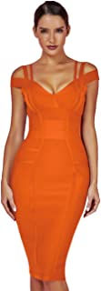 whoinshop Women's Rayon Sexy V Neck Bodycon Clubwear Party Bandage Dress