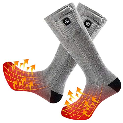 SNOW DEER 2019 Upgraded Heated Socks,7.4V 2200MAH Electric Rechargeable Battery Heated Socks for Men Women,Winter Ski Camping Hiking Motorcycle Warm Cotton Socks Foot Warmer for Bikers