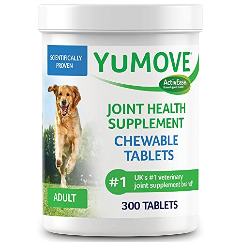 YuMOVE Adult Dog Tablets | Hip and Joint Supplement for Dogs with Glucosamine, Chondroitin, Hyaluronic Acid, Green Lipped Mussel | Dogs Aged 6 to 8 | 300 Tablets