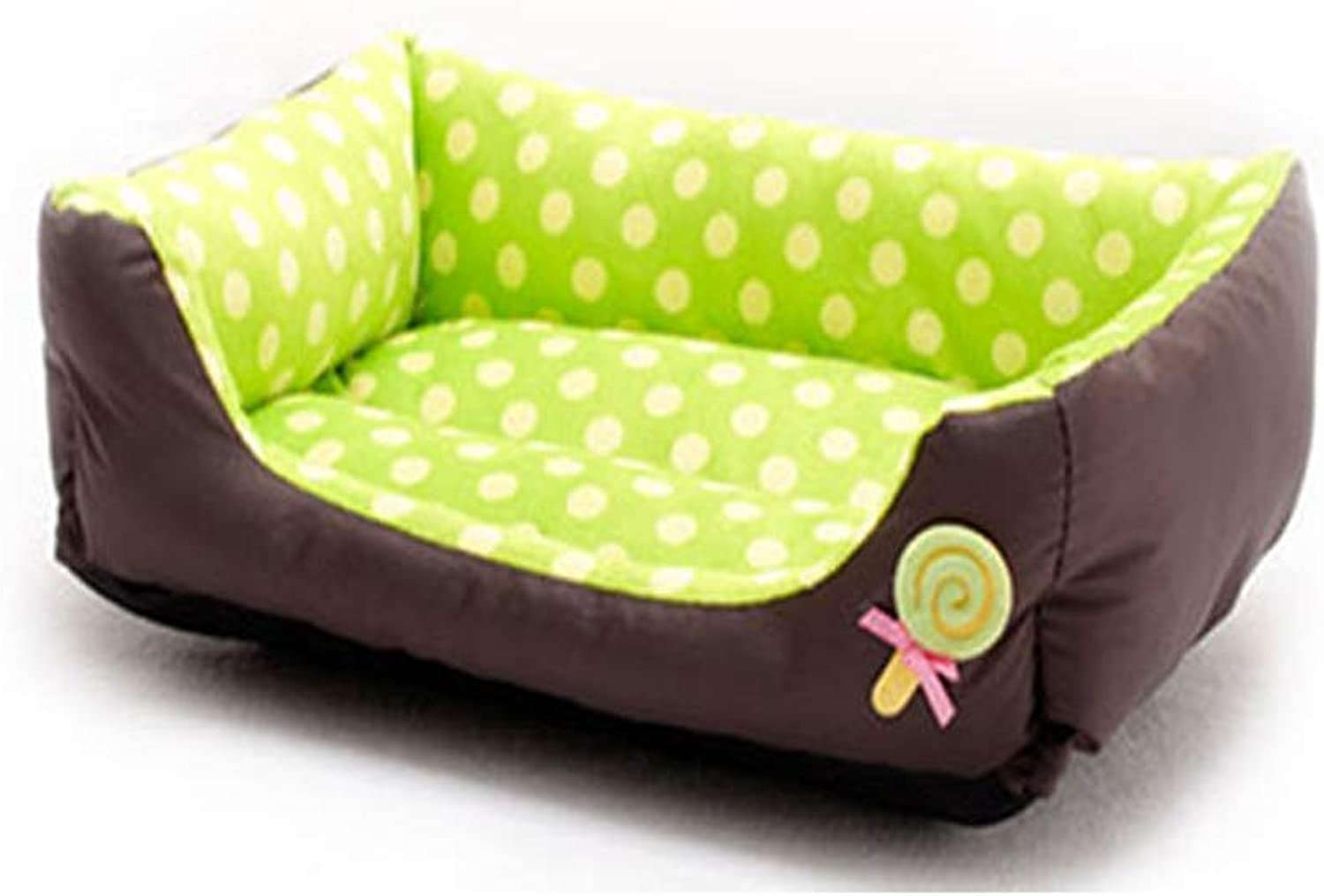 ATR Doghouse Autumn Winter Warm Sofa Pet Bed Comfortable Pet Bed Little Teddy Soft Sofa Winter Warm Dog Bed Suede Kitty Pet Waterloo (color  Green, Size  L)
