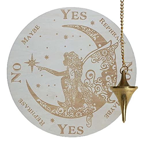 ReiseGut Pendelbrett aus Holz Ø 20 cm Pendelboard mit Ja & Nein Antwort. Motiv Fee auf dem Mond. Qujia Witchboard Hexen Wicca Pendel Board Esoterik Feng Shui
