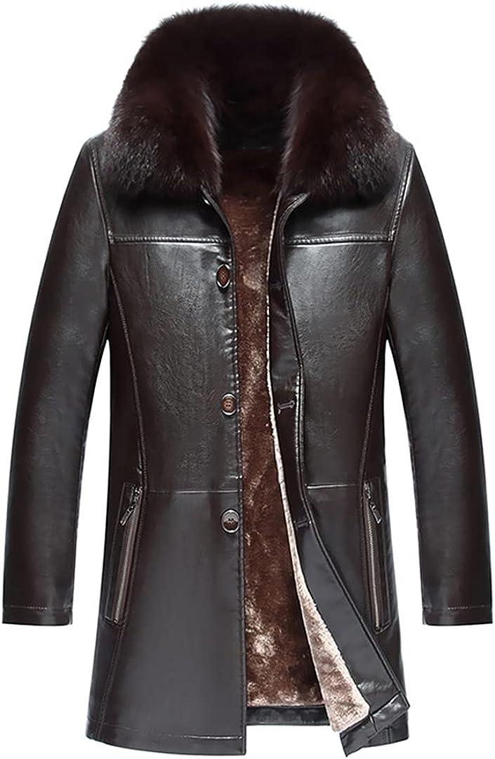 Mens Sheepskin Fur Collar Leather Jacket Genuine Leather Coats Thicken Fur Animal Collar