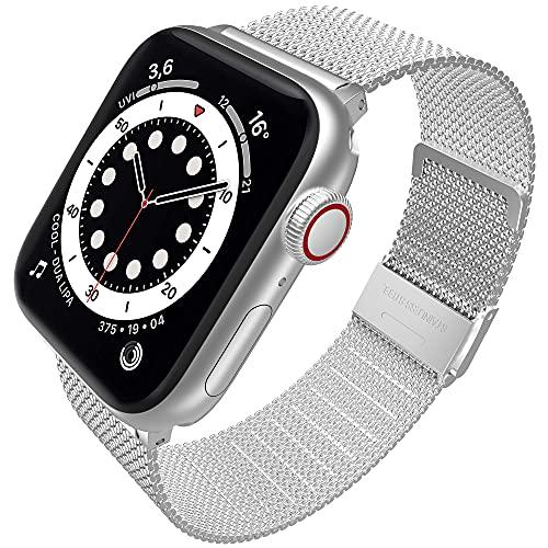 Supore iWatch Metal Correas Compatible con Apple Watch Correa 42mm 44mm 40mm 38mm, Pulsera de Repuesto con Hebilla de Metal de Acero Inoxidable Compatible con iWatch Series 6 5 4 3 2 1 SE