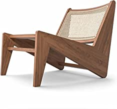 Rattan Patio Dining Chairs,Wood Lounge Chair, Rattan Sling Chairs for Garden,Backyard, Lawn, Porch, Poolside and Balcony -...