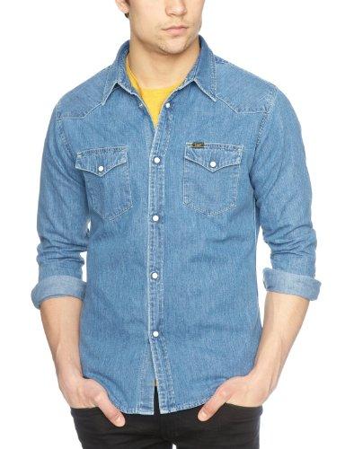 Lee Herren Western Shirt Freizeithemd, Blau (LIGHT STONE), L