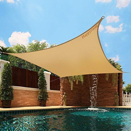 Happyroom Vela de Sombra Tela Toldo Protección Rayos UV Lonas Impermeables Exterior Sombrilla Jardin Exterior para Patio, Exteriores, Jardín (rectángulo-3 * 4M)