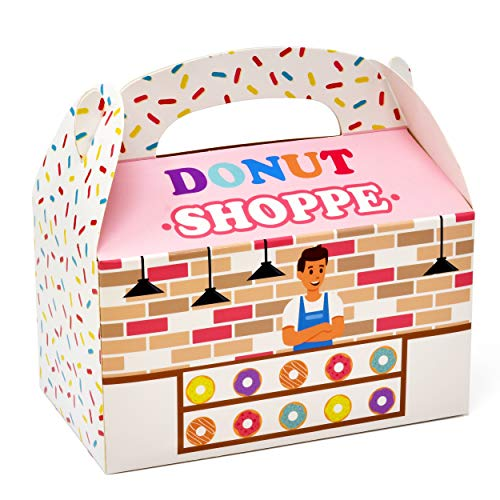 Gift Boutique Donuts Party Favor Boxes 48 Pack Hanukkah Donuts Shoppe Cardboard Treat Box Doughnut Sprinkle Candy Cookie Goody Containers for Kids Boys Girls Birthday Baby Shower Supplies Decorations