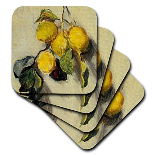 3dRose cst_179198_1 Branch of Lemons Claude Monet Painting Cropped Dated 1883, PD-US-Soft Coasters, Set