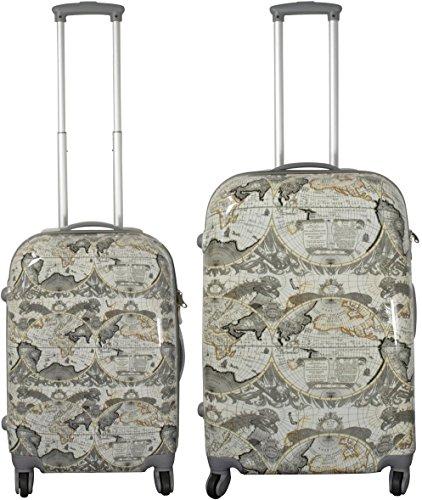 normani Hartschalen ABS Kofferset 2 TLG Reisekofferset mit Motiv Farbe Havanna