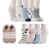 XIANOOER Calcetines cortos para Deportivas y Botines para Mujer, Socks Women Fashion Sneaker (10 pares de calcetines de animales)