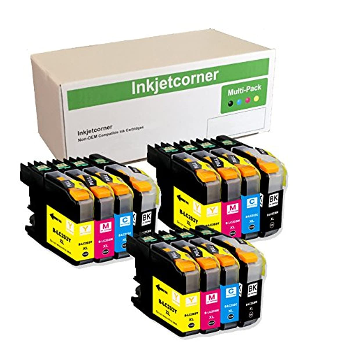 Inkjetcorner Compatible Ink Cartridges Replacement for LC203 LC203XL for use with MFC-J460DW MFC-J480DW MFC-J485DW MFC-J680DW MFC-J880DW MFC-J885DW (3 Black 3 Cyan 3 Magenta 3 Yellow, 12-Pack)