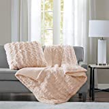 Madison Park Ruched Luxury Throw Premium Soft Cozy Brushed Long Faux Fur For Bed, Couch or Sofa, 50'x60', Blush