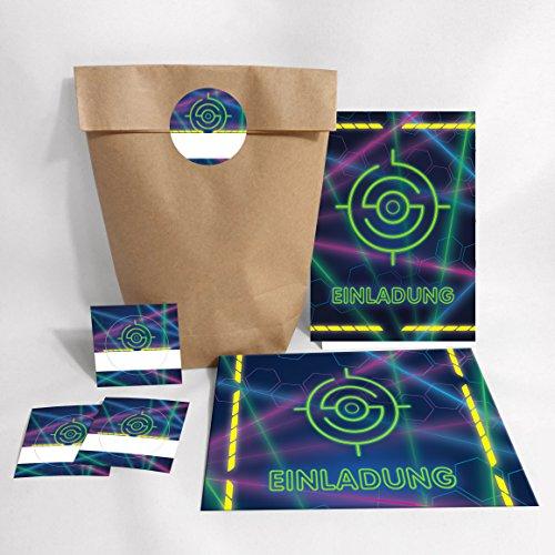 10-er Set Einladungskarten, Umschläge, Geschenktüten, Aufkleber Geburtstag Kinder Lasertag für Mädchen Jungen Jungs Einladungen Kindergeburtstag Geburtstagseinladungen Set Partyset Kartenset Party